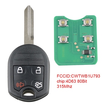315Mhz 4 Buttons Keyless Entry Remote Car Key Fob with 4D63 80Bits Chip CWTWB1U793 Fit for 2010 2011 2012 2013 2014 Ford Mustang 2005 2011 ford five hundred 4 four button keyless entry remote free programming included
