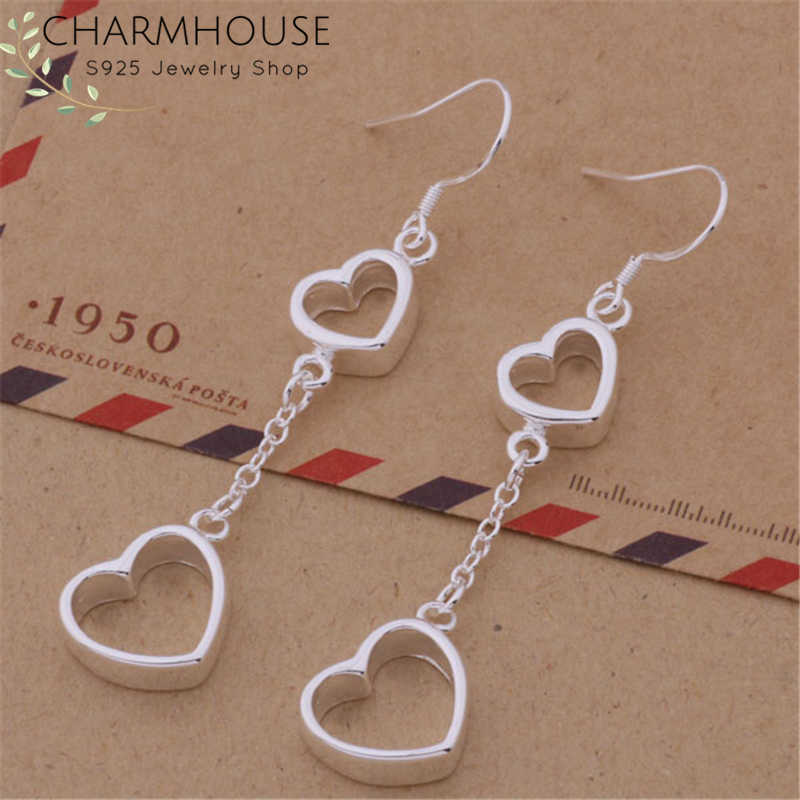 Charmhouse Pure 925 Silver Earrings for Women Double Heart Long Earing Brincos Pendientes Vintage Jewelry Accessories Bijoux