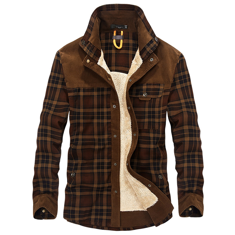 Nice Tide Winter Warm Military Shirt Men Brand Casual Long Sleeve Cotton Fleece Paid Shirt Thick Linen Shirts Men Camisa Hombre