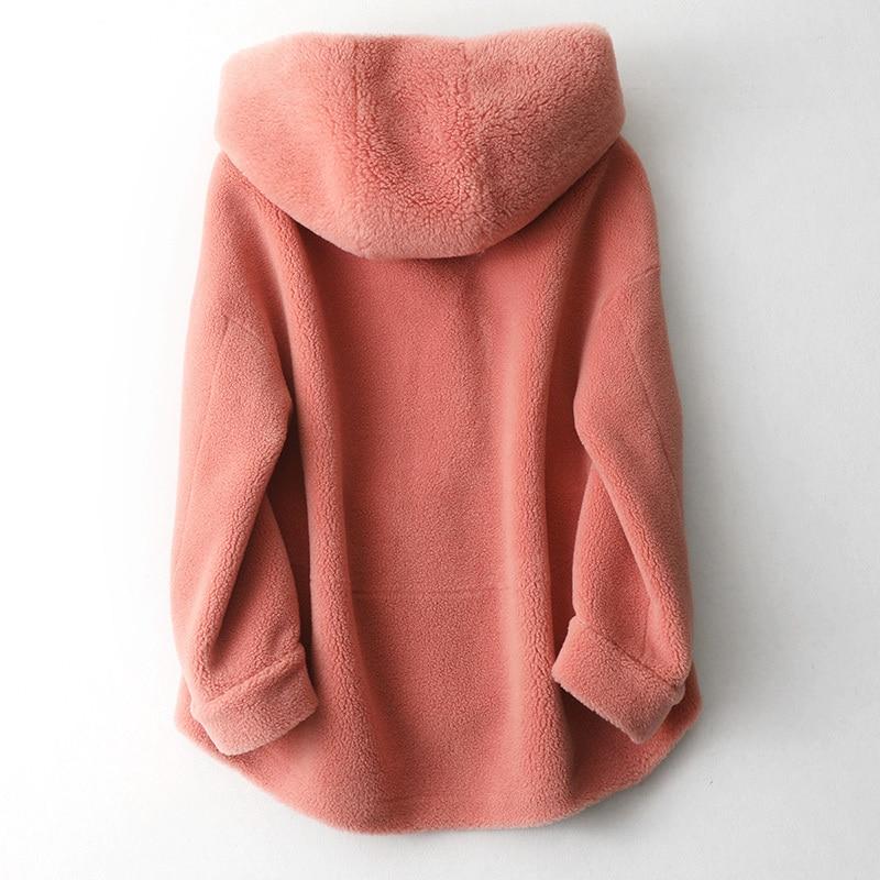 Real Winter 2020 Fur Coat Women Long Sheep Shearling Overcoat Genuine Pink Fur Coat Hooded Natural Wool Jackets 59325