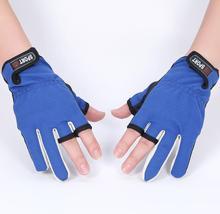 Sportowe zimowe rękawice wędkarskie 1 par partia 3 pół palca oddychająca skóra rękawice neoprenowe i PU sprzęt wędkarski tanie tanio Anti-slip Trzy Wyciąć Palec