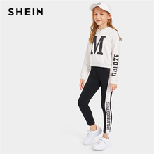 все цены на SHEIN Kiddie Girls Black And White Letter Print Hoodie And Colorblock Leggings Casual Set 2019 Autumn Active Wear Kids Outfits