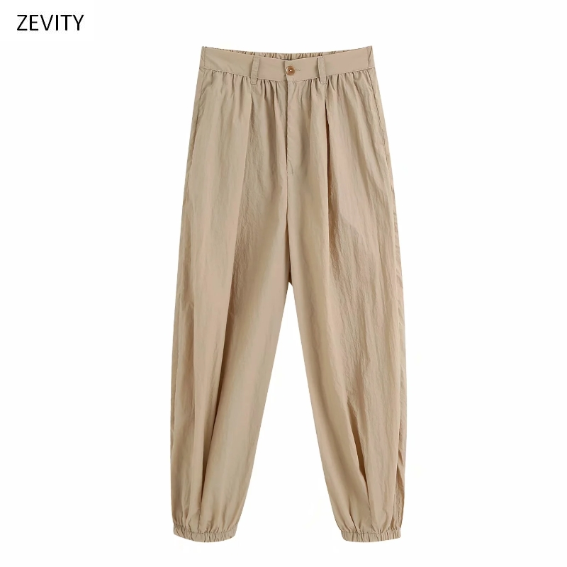 Zevity New Women Fashion Solid Color Harem Pants Chic Female Elastic Waist Pleated Casual Slim Pantalones Mujer Trousers P826