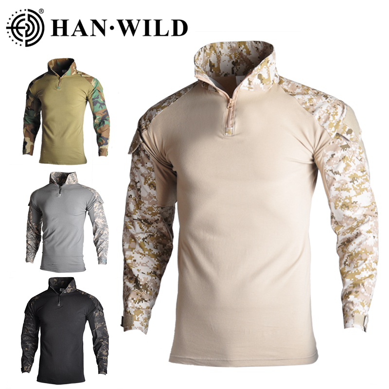 Camisa táctica de combate para hombre, uniforme militar, ropa del Ejército de los Estados Unidos, Tops taticos, Airsoft, Multicam, camuflaje, caza, pesca