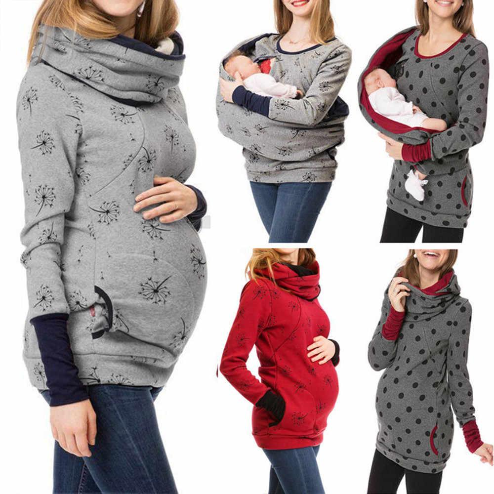 Embarazada otoño maternidad sudadera ropa de lactancia con capucha embarazada sudaderas con capucha de las mujeres de enfermería embarazo sudadera