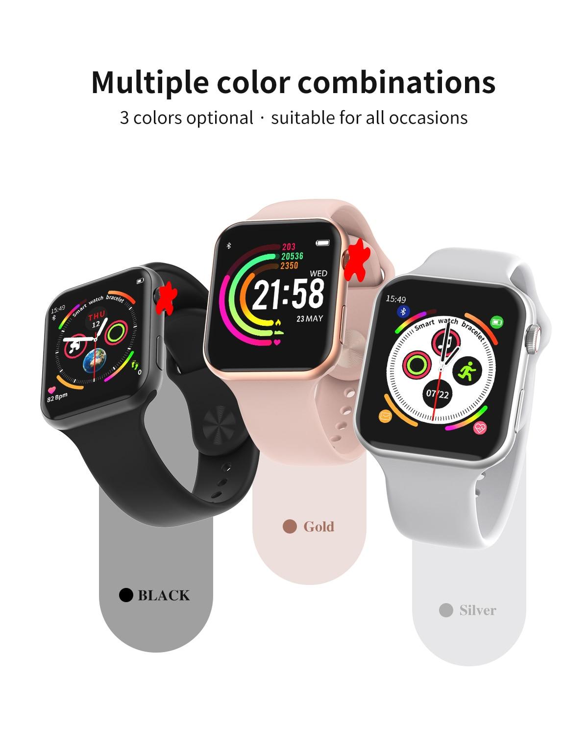 Hd1836715aef94037a7abbdaef2c6668bM 696 New Style F10 Smart Watch Full touch screen Bluetooth Smartwatch Music Camera Heart Rate Monitor Waterproof Smart Bracelet