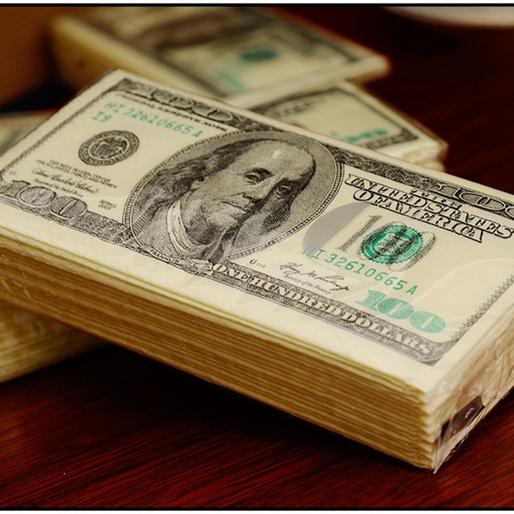 100$ Dollars Napkin US Dollar Bill Money Paper Towel Party Tricky Gift 10pcs