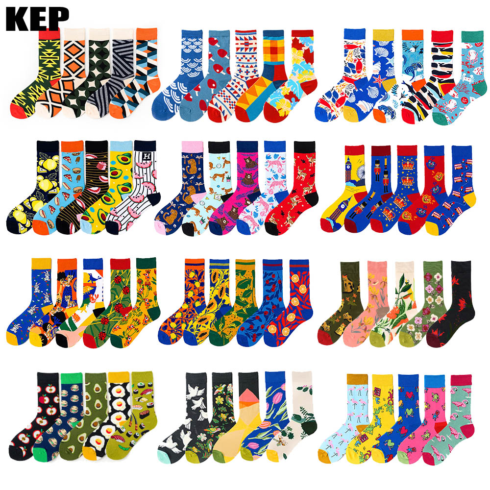 5 Pairs/lot Winter New Arrived Happy Socks 2019 Hot Sale Casual Hip Hop Fashion Design Funny Art Streetwear Crew Socks Gifts Bag