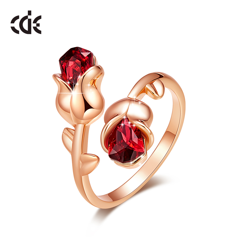 CDE Women Gold Rings Embellished With Crystals From Swarovski Adjustable Rose Flower Ring Jewelry Romantic Lover Gifts