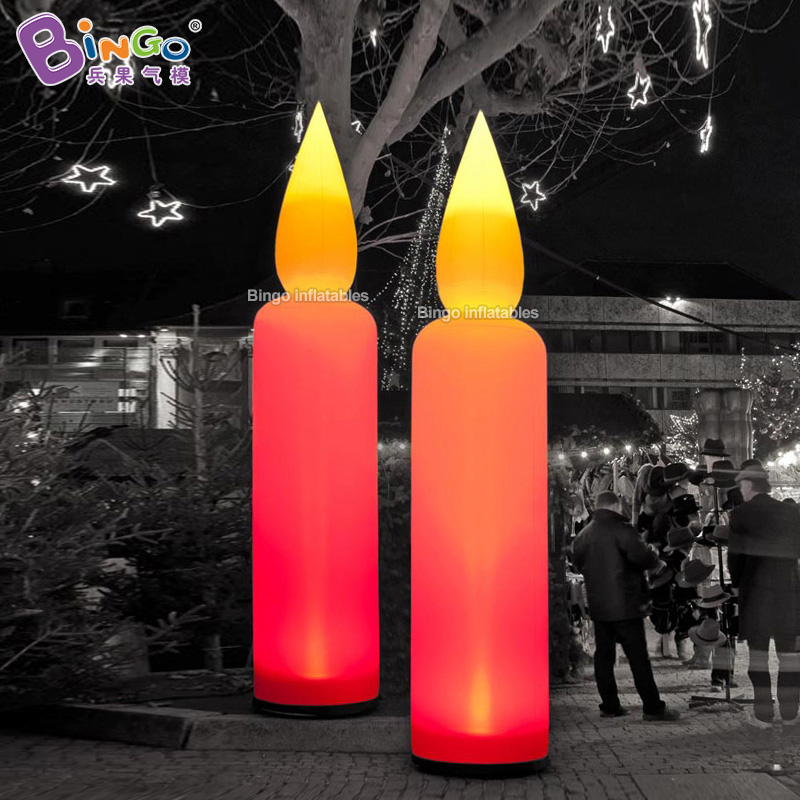 Customized lighting giant inflatable candle / 4m height large candle inflatable toy