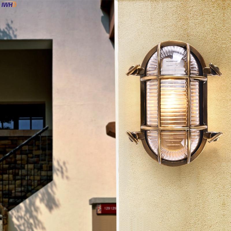 IWHD Loft Industriale Lampada Da Parete per Esterni Portico Balcone Giardino Impermeabile IP44 Luce Della Parete del LED Lampade escursione e campeggio buitenlamp esterno 5