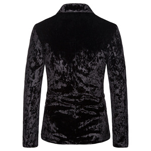 Image 2 - Black Gorgeous Ceremony Velvet Blazer Jacket One Button Slim Fit Stylish Velour Suit Blazer Men Party Stage Prom Blazer Hombre