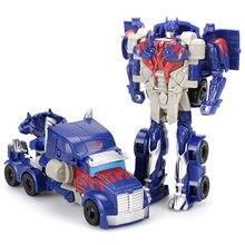 12cm transformação robô kit brinquedos transformador 2 em 1 um passo, deformação optimus hornets, modelo de brinquedo carro deformado para presente do menino