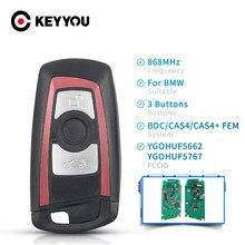 KEYYOU 434MHz 868MHz 315MHz 3/4 botones remoto clave para BMW 5 7 Serie F X5 X6 F20 F21 F30 F31 2009-2016 FEM / BDC CAS4 CAS4 +