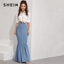 שיין כחול כפתור קדמי Fishtail Hem ינס מקסי חצאית נשים סתיו כיס גבוהה מותן מפלגה מקרית Slim מצויד בת ים חצאיות