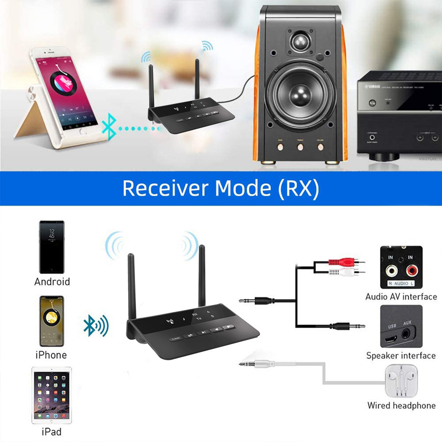 80M Bluetooth 5.0 Transmitter Receiver  Aptx LL Low Latency Wireless Audio Adapter 3.5mm AUX RCA Jack for PC TV Headphones