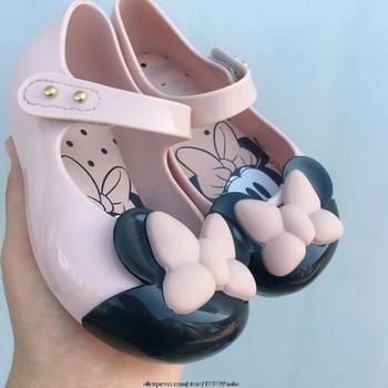 Oryginalna Disney Princess Mickey Mouse letnie kreskówki żelowe buty dziewczęce dziewczęce sandały wsuwane Melissa Kids sandał na plażę maluch tanie i dobre opinie 12 + y 7-12y W wieku 0-6m 7-12m 13-24m 25-36m CN (pochodzenie) CZTERY PORY ROKU Dziewczyny Miękka skóra Płaskie obcasy