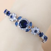 925 Sterling Silver Charm Bracelet Bangle Blue Cubic Zirconia 6-Colors Wedding Jewelry Adjustable Length 18+3CM