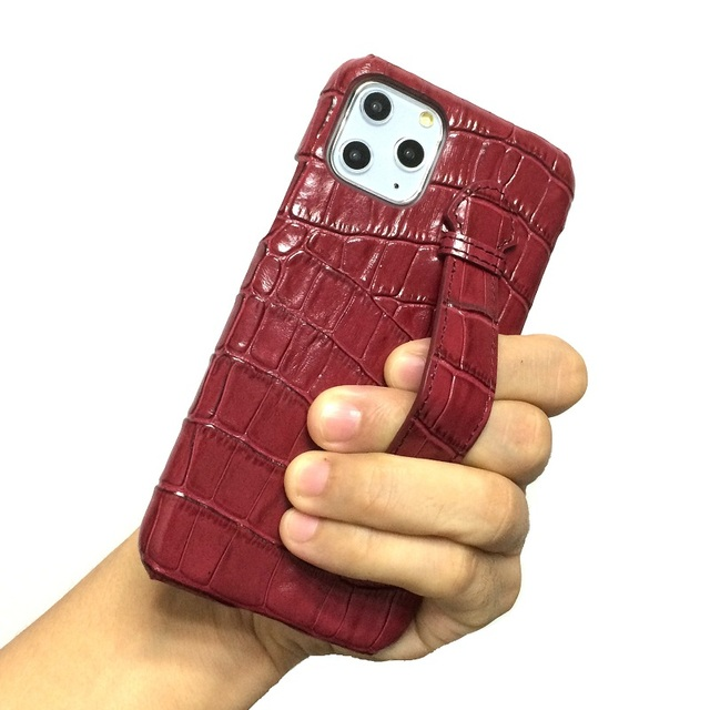Genuine leather hand strap holder funda case for iPhone 11 12 Pro Max ProMax phone cover luxury crocodile thin hard cases Maroon 6