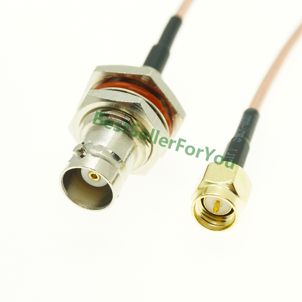 New BNC Female Jack Bulkhead To SMA Male SMA Plug RF Coaxial Jumper Pigtail Cable RG316
