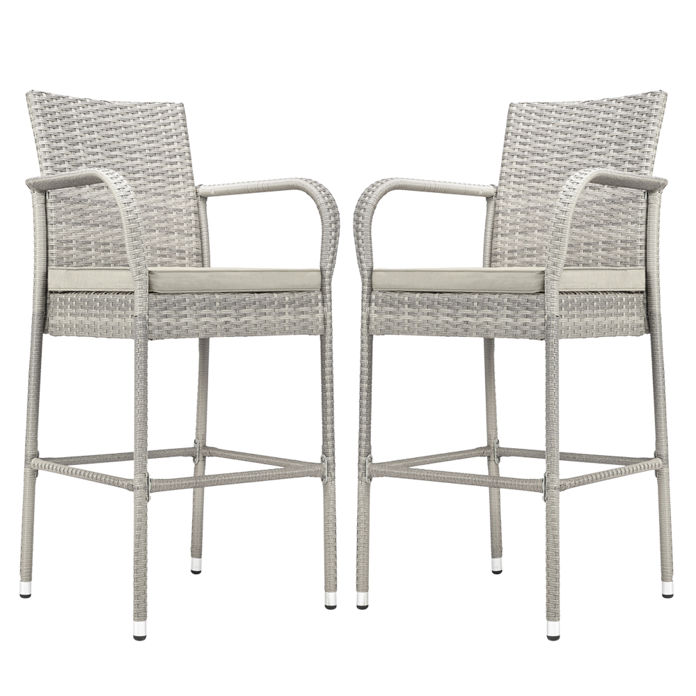 2pcs Gray Gradient Bar Chairs PE Rattan And Iron Frame High Bar Chairs Rattan Chair With 2 Cushion And 1 Hardware Accessories