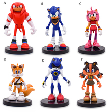 Anime Sonic Tails Amy Rose Knuckles Shadow PVC Action Figure Doll Model Toy Christmas Gift For Children 7