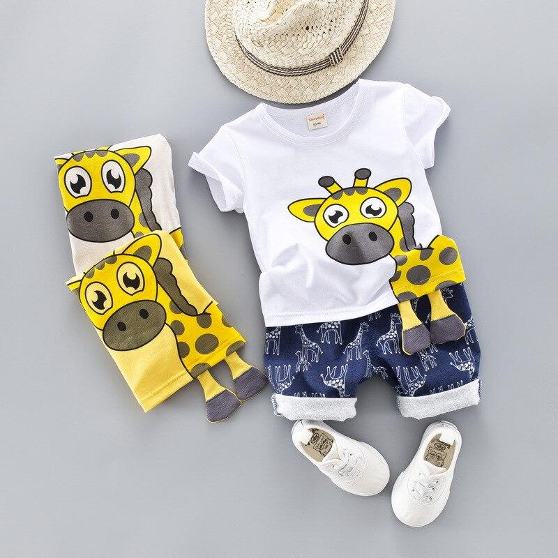 New Cartoon Summer baby boys set children's t-shirt three-dimensional giraffe five-point jeans 2pcs set 1