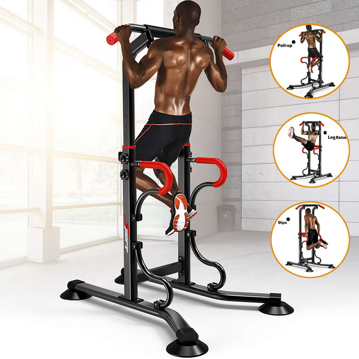 Power Tower - Chin Up Pull Up Multi-Grip Bar Station - Dip - VKR Knee Raise Indoor Outdoor Gym