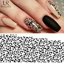 1 лист, черный/белый леопард, переводные наклейки для ногтей, переводные наклейки для красоты, Полное Обертывание, маникюрное украшение, аксессуары для самостоятельного изготовления BEB304