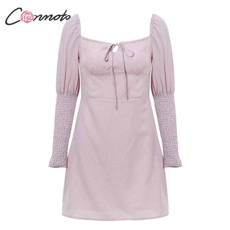 Conmoto z długim rękawem różowy Party zima sukienki kobiety elegancka sukienka w stylu Vintage łuk kratę jesień 2019 panie koronki UpDresses Vestidos