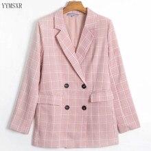 Casual Women's Pink Plaid Jacket Feminine 2020 new autumn loose mid-length women's blazer