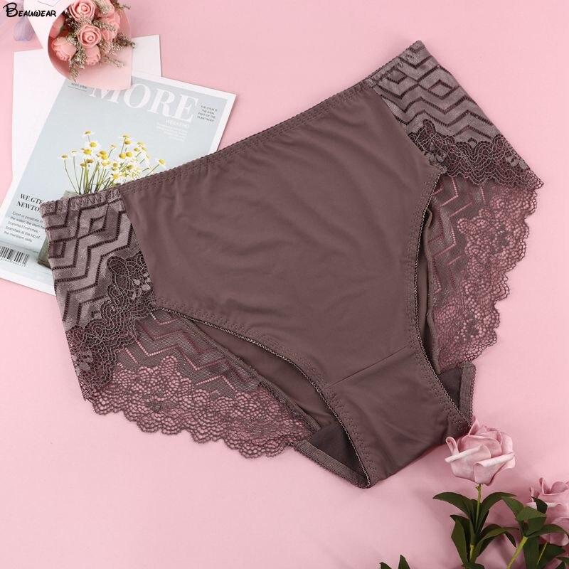 Beauwear Sexy Wave Stripe Lace Women's Panties Plus Size Female Underwear Mid-rise Underpants Ladies Briefs 2XL 3XL 4XL 5XL
