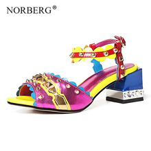 NORBERG T word with womens sandals leather 2019 new fashion rivet color matching summer shoes high heels