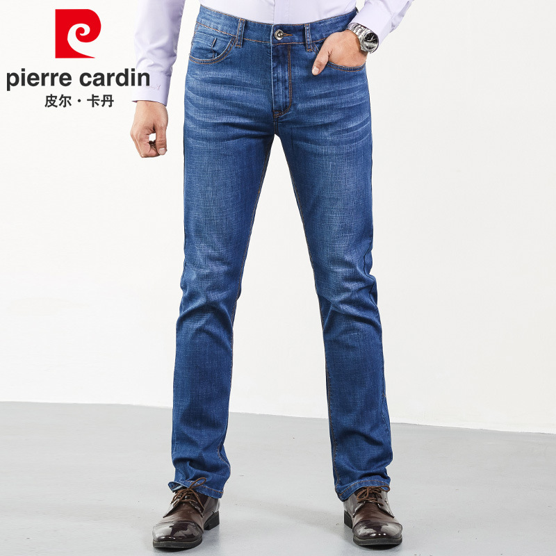 Pierre Cardin Genuine Product Jeans Men's Spring And Autumn Straight Slim Youth Men Elasticity Business Casual Trousers