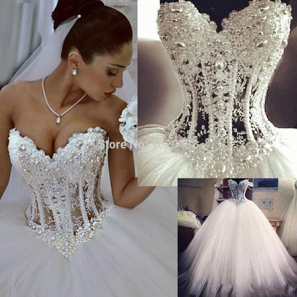 Sheer 2015 Real Image Vestidos De Noiva Sweetheart Romantic Wedding Dresses Ball Gown Pearls Lace Up Tulle Bridal Gown