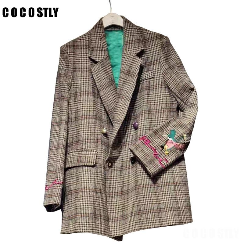 Korean Women Plaid Blazers Suit Ladies Autumn Plaid Embroidery Long Paragraph Loose Retro Plaid Woolen Suit Jacket Female