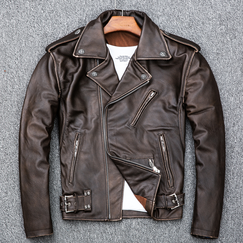 Real Cow Leather Jacket Men Vintage Genuine Leather Jackets Spring Fall Motorcycle Cowhide Chaqueta Cuero Hombre KJ1915