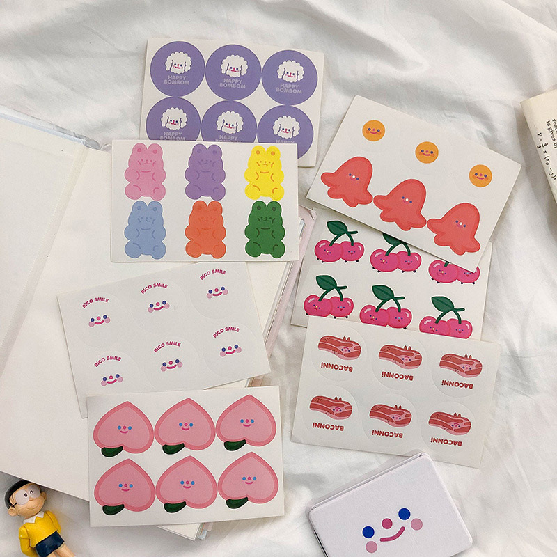 5 Sheets  Kawaii Fruit Decorative Stickers  Cute Bear Stickers Decorative Adhesive Sticker Diary Scrapbooking Supplies