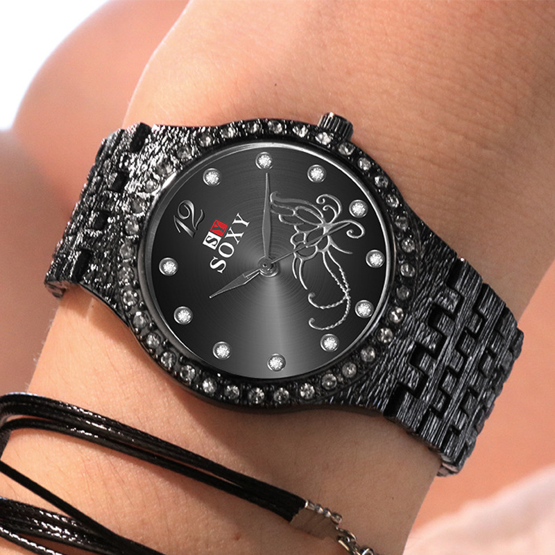 Exquisite Casual Ladies Watch Fashion Diamond Women's Watches New Luxury Women Bracelet Watch 2019 Flower Butterfly Female Clock
