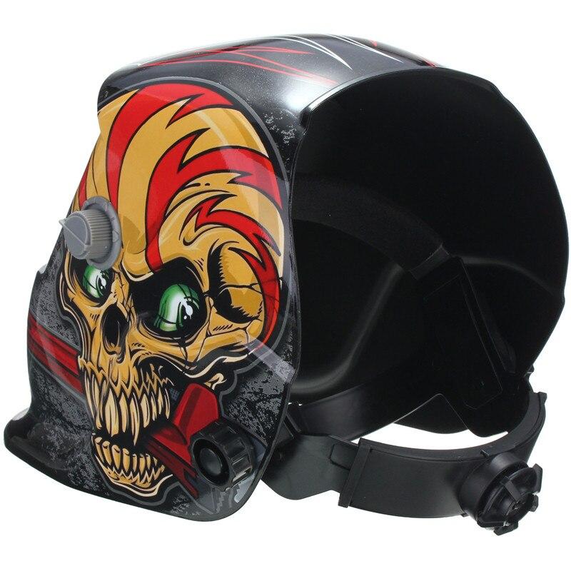 Solar automatyczne przyciemnianie kask spawalniczy s maska czerwony MIG kask spawalniczy wzór czaszki konserwacja do spawarki