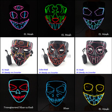 Hot Fashion EL Wire Glowing Horror Mask Novelty LED Flashing Light up Party for Halloween Scary Cosplay Decor