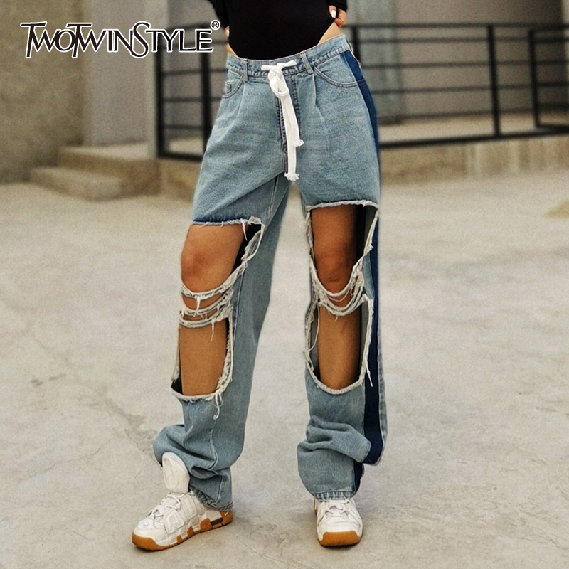 TWOTWINSTYLE Hit Color Ripped Hole Women Denim Pants High Waist Drawstring Hip Hop Straight Jean Female Clothes 2020 Fashion New
