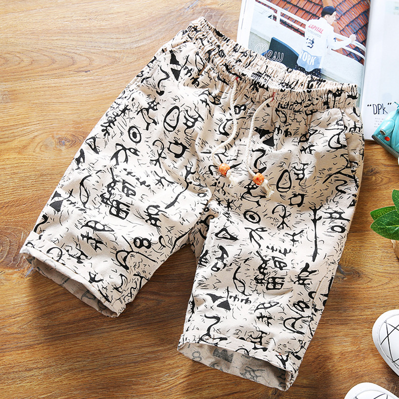 Hot Selling Summer Men Cotton Linen Floral-Print Shorts Casual Loose-Fit Shorts Slim Fit Shorts Beach Shorts