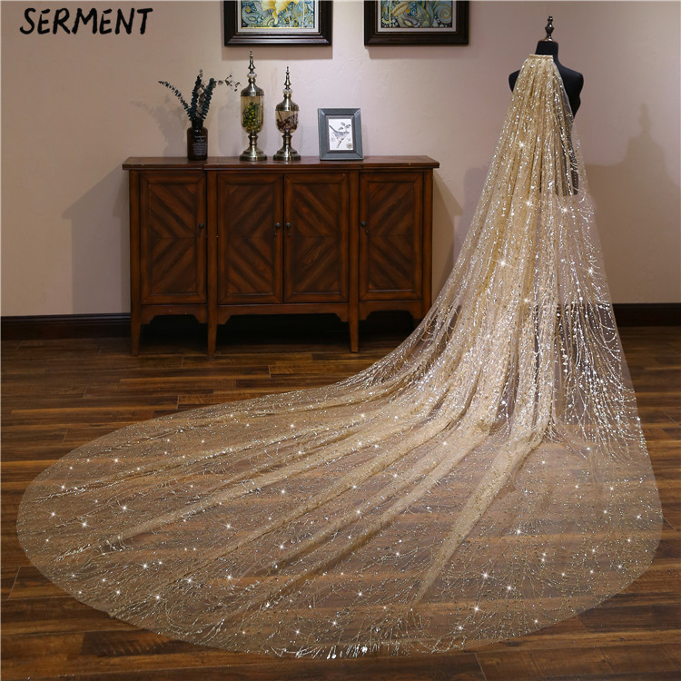 SERMENT New Bridal Beaded Veil  Lace Edge One-Layer 300cm And 500cm Cathedral Veil  Cathedral Wedding Veil Wedding Accessories