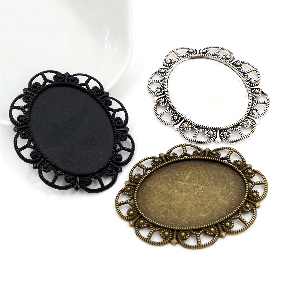 5pcs 30x40mm Inner Size Antique Silver Plated And Bronze And Black Cabochon Base Setting Charms Pendant