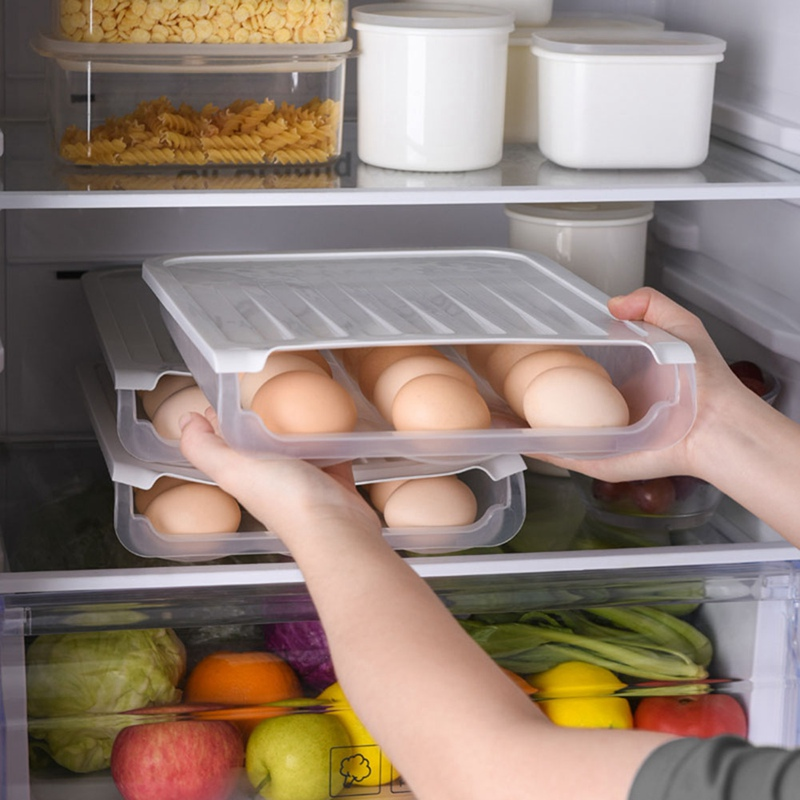 Auto Scrolling 3-row Egg Holder Fresh Storage Box Rack Crisper Plastic Egg Container Case Kitchen Refrigerator Clear Stacked New