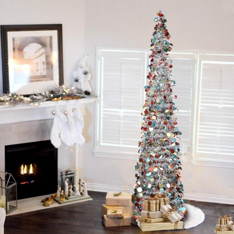 1,5 M DIY Pailletten Weihnachten Baum Popup Faltbare Lametta Künstliche Weihnachten Baum Mit Stand Weihnachten Dekorationen Bäume
