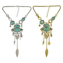 Bohemian Color Fashion Necklace Inlay Irregular Geometry Blue Gem Coin Leaf Tassel Necklace Women Jewelry stylish faux turquoise carving leaf tassel necklace for women