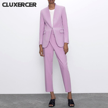 Casual V Neck Blazer Jacket +Trousers 2 piece Set Female 2020 New Womens Spring  Autumn Purple Women Suits