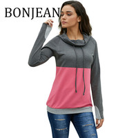 BONJEAN Autumn Tops 2019 Women's Clothing Tie Collar Sweatshirts and Pullovers Long Sleeve Casual Gray Sweatshirts BJ1599